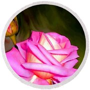 Painted Pink Rose Round Beach Towel