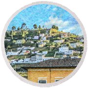 Panecillo Hill Quito	 Round Beach Towel