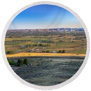 Panoramic Emmett Valley Round Beach Towel