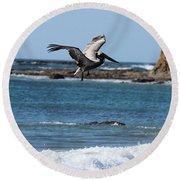 Pelican With Wet Feet Round Beach Towel