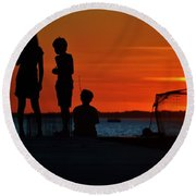 Perfect Ending - 3 Friends On A Pier As The Hot Summer Sun Sets On The Indian River Bay Round Beach Towel