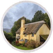 Picturesque Thatched Roof Cottage In Selworthy Round Beach Towel