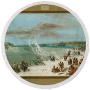 Portage Around The Falls Of Niagara At Table Rock Round Beach Towel
