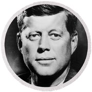 Portrait Of John F. Kennedy  Round Beach Towel by American Photographer