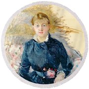 Portrait Of Louise Riesener Round Beach Towel by Berthe Morisot