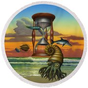 Prehistoric Animals - Beginning Of Time Beach Sunrise - Hourglass - Sea Creatures Square Format Round Beach Towel
