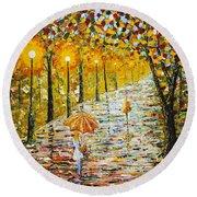 Rainy Autumn Beauty Original Palette Knife Painting Round Beach Towel