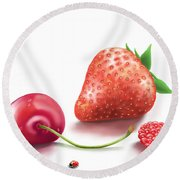 Red Fruits Round Beach Towel