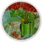 Red Geranium With The Strawberry Jug And Cherries Round Beach Towel