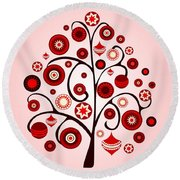 Red Ornaments Round Beach Towel
