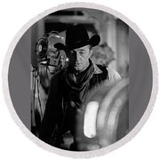 Robert Mitchum Lights Young Billy Young Set  Old Tucson Round Beach Towel