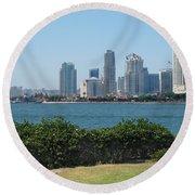 San Diego Viewed From Coronado Island Round Beach Towel