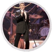 Singer Michael Buble Round Beach Towel