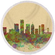 Skyline Of Detroit Usa Round Beach Towel