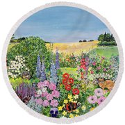 Summer From The Four Seasons Round Beach Towel