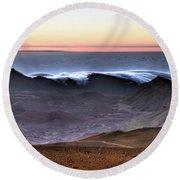Sunrise At Haleakala Crater, Maui Round Beach Towel