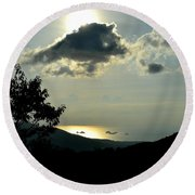 Sunset At Five Islands Round Beach Towel