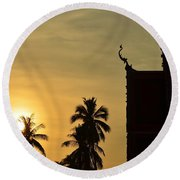 Sunset In The Tempel Round Beach Towel