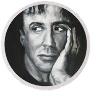 Sylvester Stallone Round Beach Towel