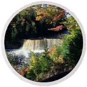 Tahquamenon Falls In Autumn Round Beach Towel