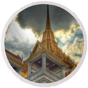 Temple Roof Round Beach Towel