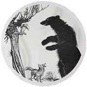 The Bear And The Fox Round Beach Towel