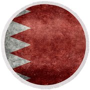 The Flag Of The Kingdom Of Bahrain Vintage Version Round Beach Towel