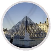 The Glass Pyramid Of The Musee Du Louvre In Paris France Round Beach Towel