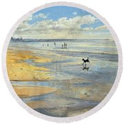 The Little Acrobat  Round Beach Towel