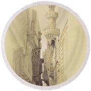 The Minaret Of The Mosque Of El Rhamree Round Beach Towel by David Roberts