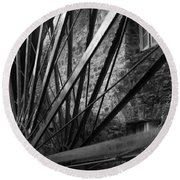 The Old Mill-black And White Round Beach Towel