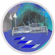 112 This Earthquake Feeling   Round Beach Towel
