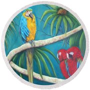 Three Is A Crowd,macaws Round Beach Towel