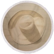 Travelling Hat On Dusty Table Round Beach Towel