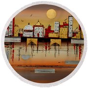 Urban Landscape Round Beach Towel