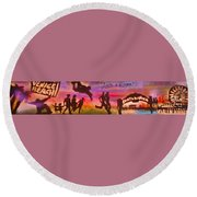 Venice Beach To Santa Monica Round Beach Towel