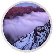 View Across The Caldera Taburiente Round Beach Towel