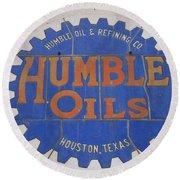 Vintage Humble Oils Sign Jefferson Texas Round Beach Towel