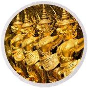 Wat Phra Kaeo Temple - Bangkok - Thailand.  Round Beach Towel