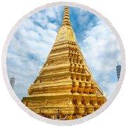 Wat Phra Kaeo Temple - Bangkok Round Beach Towel