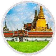 Wat Phra Kaew - Bangkok Round Beach Towel