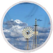 Water Windmills Round Beach Towel