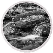 Waterfall Great Smoky Mountains Painted Bw    Round Beach Towel