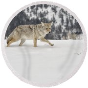 Winter's Determination Round Beach Towel