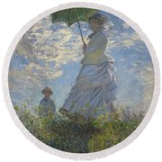 Woman With A Parasol Madame Monet And Her Son Round Beach Towel by Claude Monet