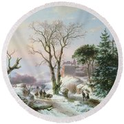Wooded Winter River Landscape Round Beach Towel