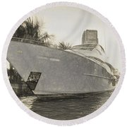 Yacht On The Water Round Beach Towel