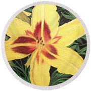 Yellow Lily Round Beach Towel