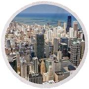 0001 Chicago Skyline Round Beach Towel
