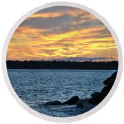 001 Awe In One Sunset Series At Erie Basin Marina Round Beach Towel